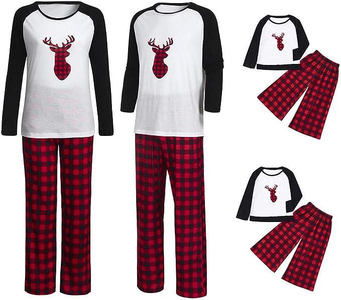 LianMengMVP Pijamas Navidad para Familias Invierno Otoño Top+ ...