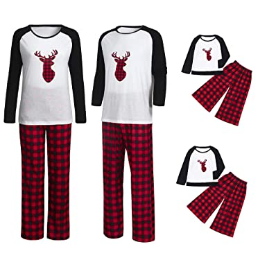 6ca4043b6670 Rucan Christmas Parent-Child Deer Plaid Tops Blouse Pants Family Pajamas  Sleepwear Outfits Set (