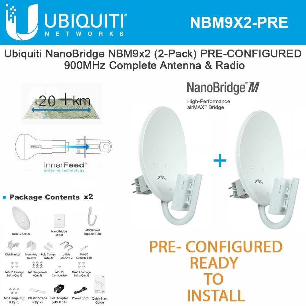 Ubiquiti NanoBridge M9 NBM9 2-PACK PRE-CONFIGURED 900MHz NBM900 Antenna & Radio