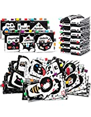teytoy High Contrast Soft Books Black and White Baby Book Cloth Crinkle with Bell Colored Tag Visual Stimulation Newborn Sensory Toys for Newborn Infants 0 3 6 to 12 Months, 6 PCS