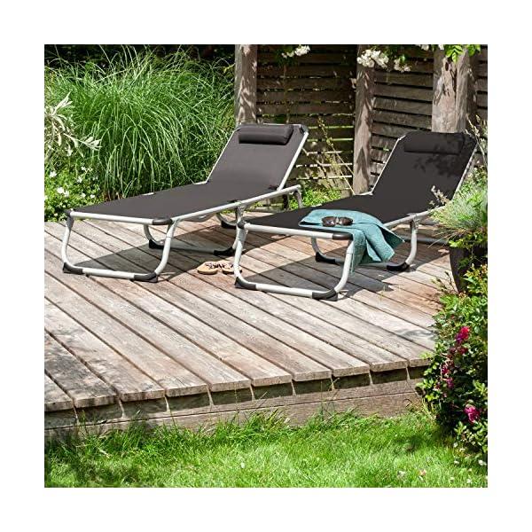 61K2udS7i9L Park Alley PA-5210 Sonnenliege mit Kissen, Gartenliege klappbar mit Rahmen aus Aluminium, hochwertig & robust…