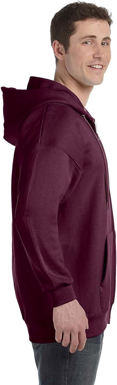 Hanes, Erwachsene, Ultimate, Baumwolle, durchgehender Reißverschluss und Kapuze. Maroon