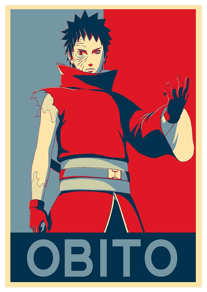 Formato A3 42x30 cm Poster NarutoPropaganda Obito Uchiha