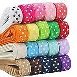 ULTNICE 17 Color Polka Dot Ribbon Craft Grosgrain Ribbons DIY Hair Ribbons Gift Wrapping