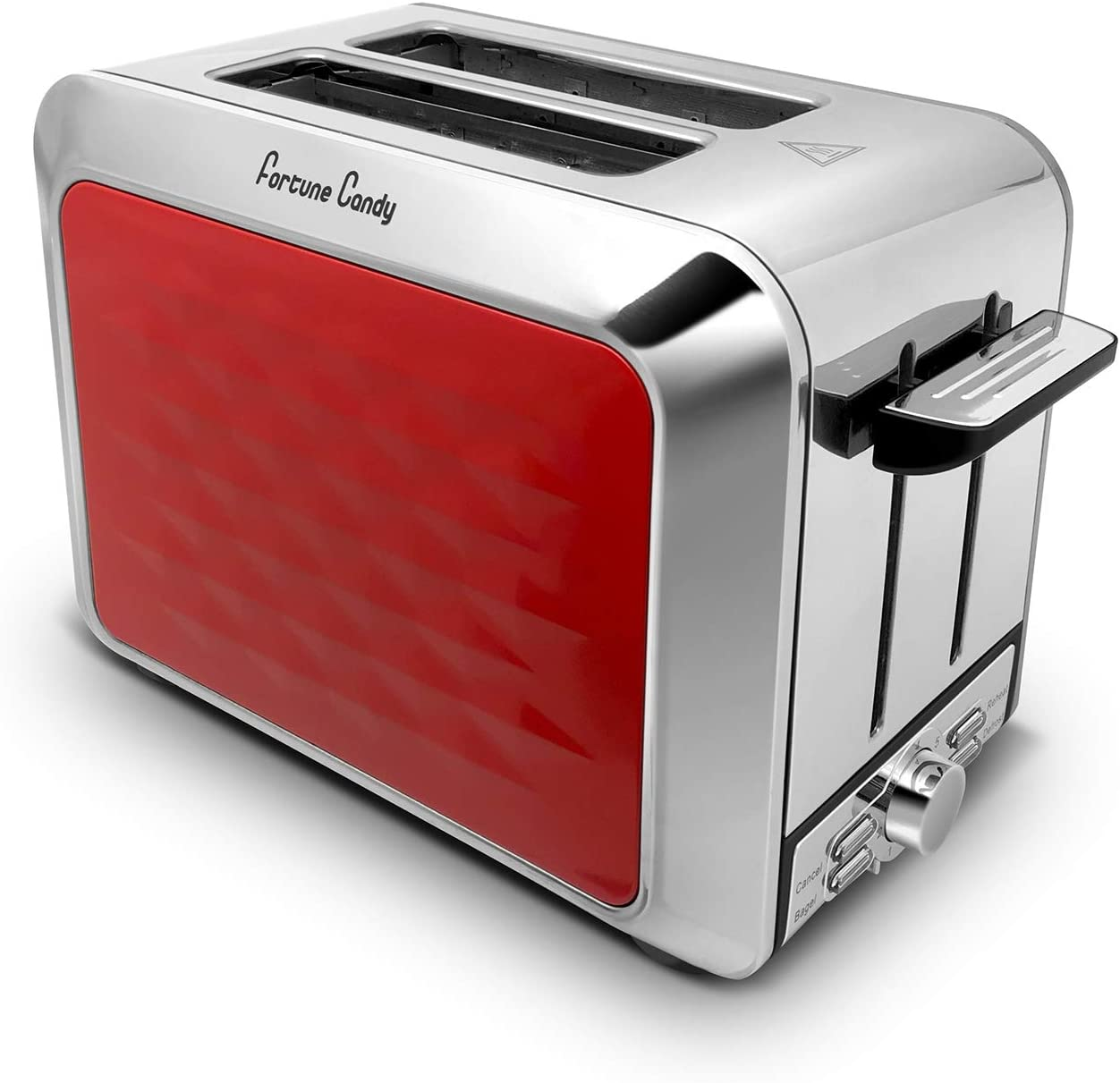 Fortune Candy Toaster, Diamond Pattern, 2 Slice, Stainless Steel, Toaster for Bagels, Wide Slots Toaster (Red)