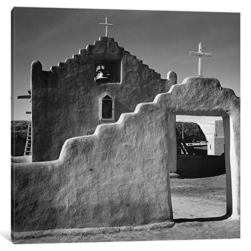 ART AAD28-1PC3-12x12 Church, Taos Pueblo, New Mexico, 1941 Gallery Wrapped Canvas Art Print by Ansel Adams, 12