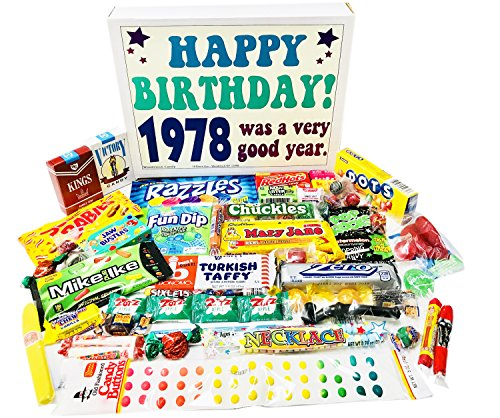 (Woodstock Candy 1978 40th Birthday Gift Box – Retro Nostalgic Candy Assortment for 40 Year Old Man or Woman – Relive Your Childhood)