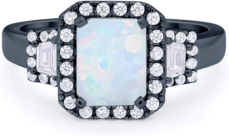 Blue Apple Co. Art Deco Three Stone Wedding Engagement Bridal Ring Emerald Cut Baguette CZ 925 Sterling Silver