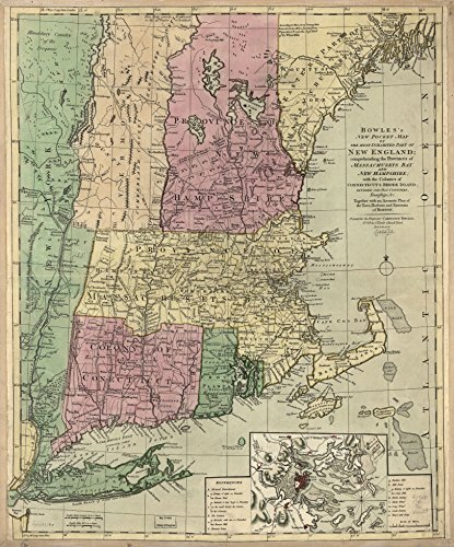 - Antique old Canvas Reproduction 24 x 18 Map from c.1780 Bowles's new pocket map of the most inhabited part of New England; comprehending the provinces of Massachusets Bay and New Hampshire; x306