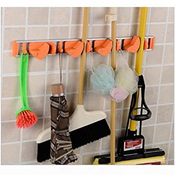 Attrayant Broom Mop Dustpan Holder Organizer Garage Storage Hooks Wall Mounted, Best  Tool U0026 Closet Storage