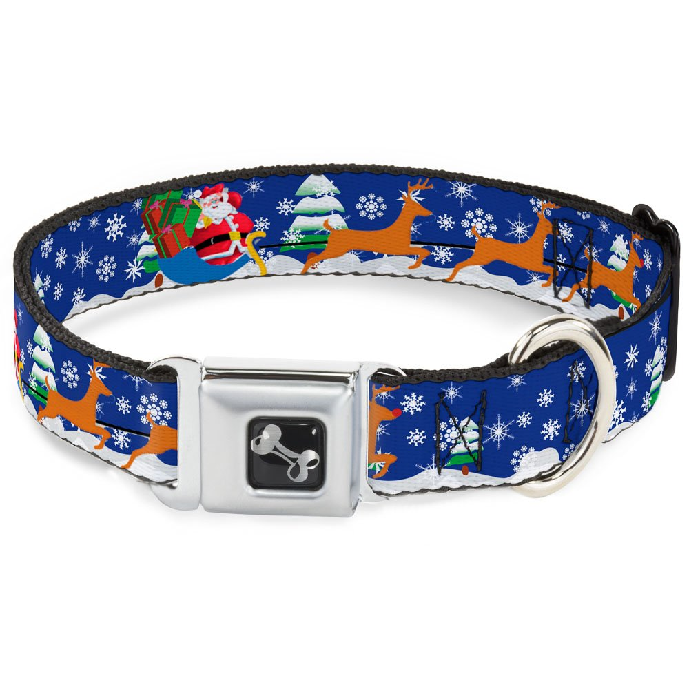 Buckle-Down 13-18  Santa & Reindeers Dog Collar Bone, Wide Small