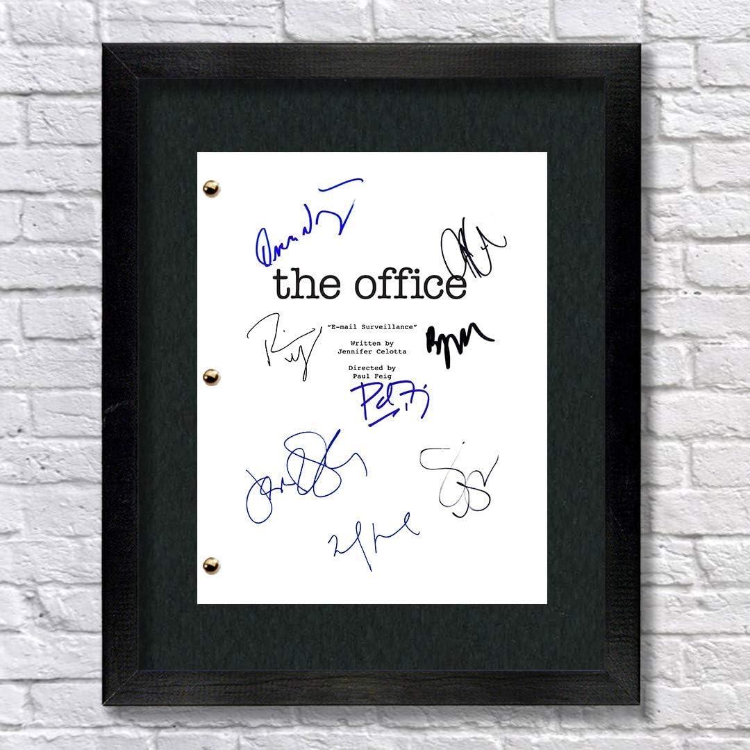 The Office TV Show Cast Autographed Signed Reprint 8.5x11 Script Framed 13x15 Michael Scott Jim Halpert Pam Beesly Dwight Shrute (Framed)