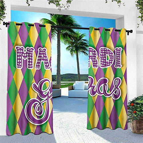 leinuoyi Mardi Gras, Outdoor Curtain of Lights, Stylized Mardi Gras Lettering on Classical Diamond Line Backdrop, Fabric by The Yard W84 x L96 Inch Violet Fern Green Marigold
