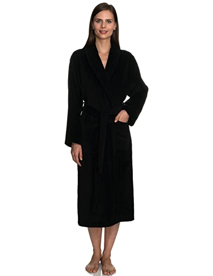9b55874a32 TowelSelections Women s Robe Turkish Cotton Terry Velour Bathrobe  Small Medium Black