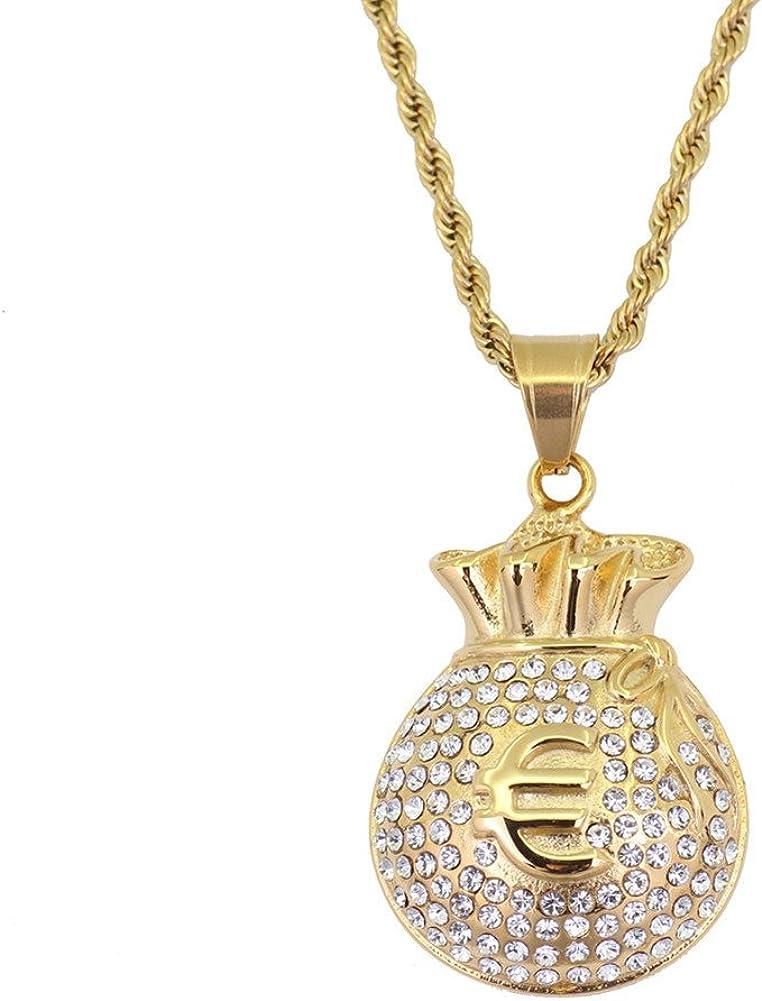 Joielavie Collier Pendentif Signe Euro /€ Porte-Monnaie Bourse Richesse Dor/é Strass Diamant Simul/é Cha/îne Acier Inoxydable Bijoux Hip Hop Bling Cadeau Homme Femme