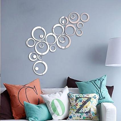 Soledi shining silver tone acrylic 3d mirror effect wall sticker round circle decal mural art