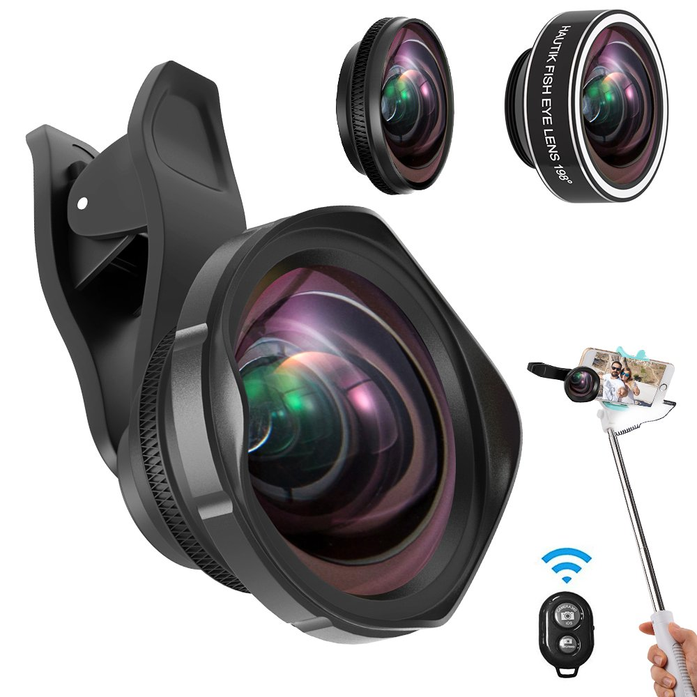 Cell Phone Lens Kit,ARORY 3 in 1 Lens Kit,0.6X Wide Angle Lens + 12X Macro Lens + 198° Fisheye Lens, Clip-On Lenses for iphone 8 7 6 plus + Remote Shutter with Selfie Stick by ARORY