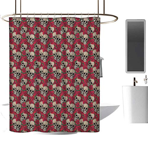 MKOK Printed Shower curtain36 x72 Rose,Graphic Skulls and Red Rose Blossoms Halloween Inspired Retro Gothic Pattern Vermilion Tan Green,Non-Toxic,No Chemical Odor,Eco-Friendly,for Bathroom -