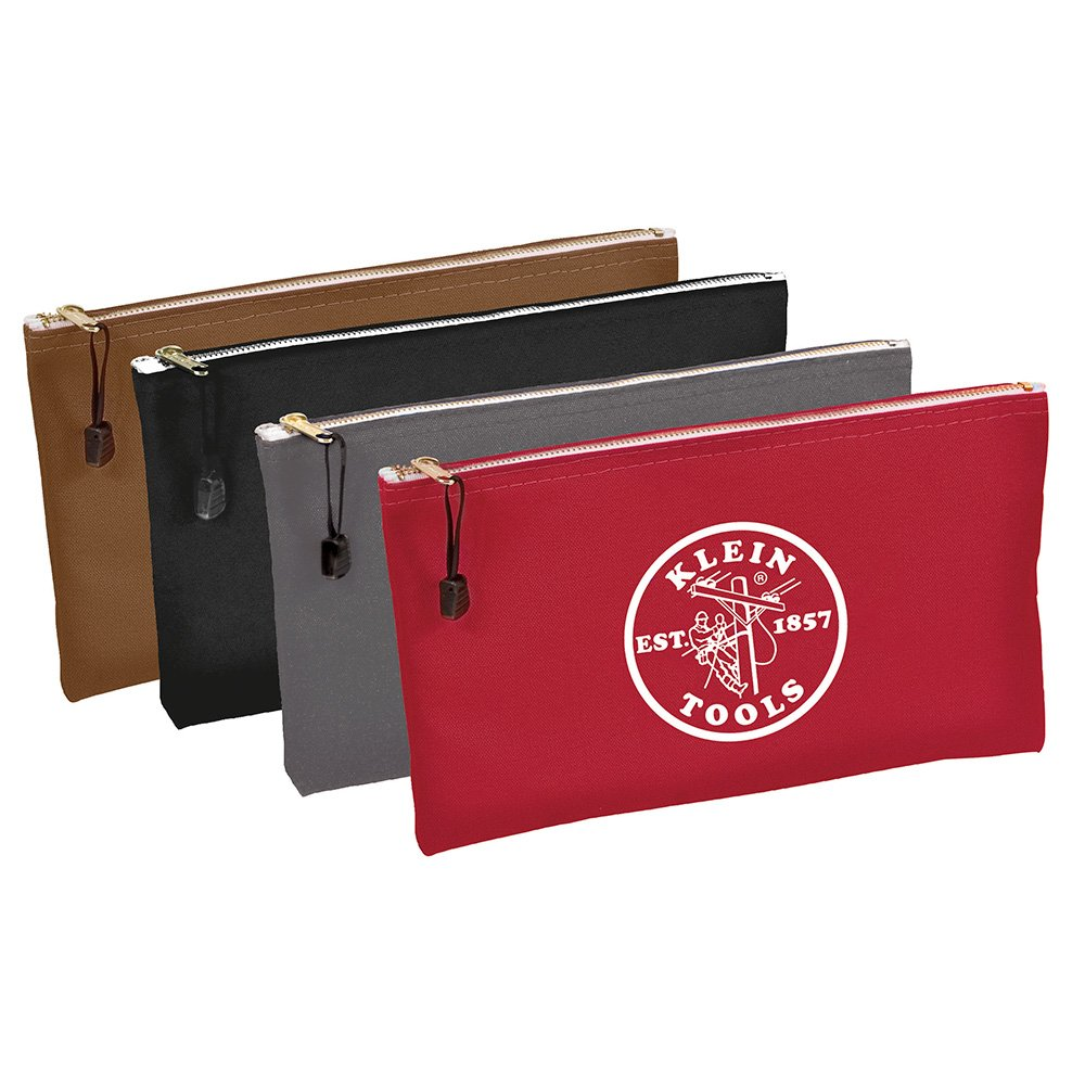 Utility Bag Zipper Tool Bags in Brown Black Gray Red 12.5 Inch Canvas 4 Piece Klein Tools 5141