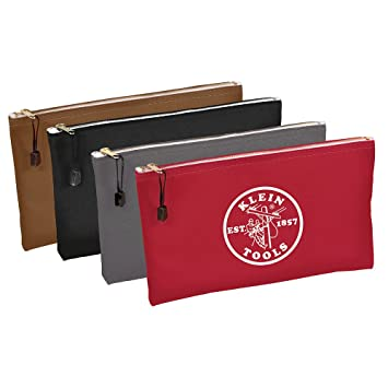 """12.5/"""" x 7/"""" Canvas 4 Pack Brown, Black, Gray, Red Utility Bags Zipper Tool Bags"""