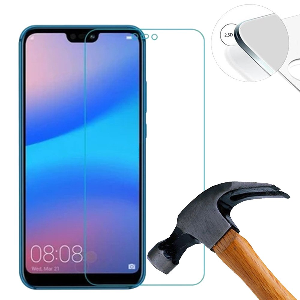 2 x Tempered Glass Screen Protector Pack for Huawei P20 lite 5.84 Inch Protective Glass Film Screen Protector and Ultra-hard Glass Protective Film 9H (Cover only the flat side)