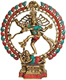 Nataraja (with Twin Hued Inlay Work) - Brass Statue