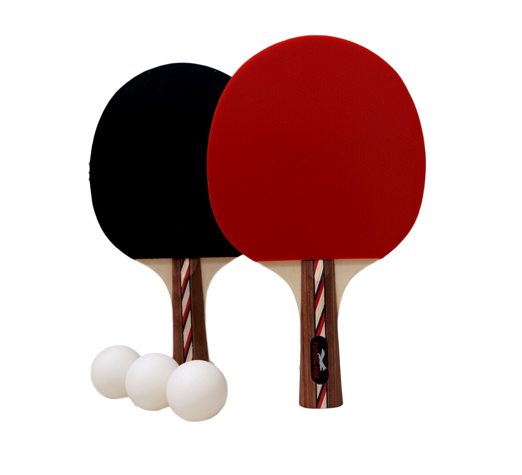 Table Tennis & Ping Pong Paddles Set with Carry Case - Professional Quality Racket with Flared Wood Handle for Novice to Semi-Pro by Flying Fox Paddles
