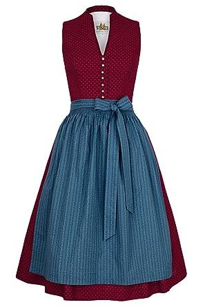 Damen Ausschnitt Wenger Baumwolldirndl Style Rot Austrian V eHbWED29IY