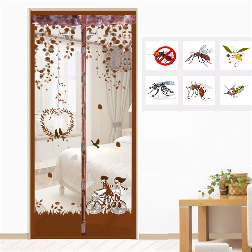 Brown 110220cm Brown 110220cm Fiberglass Magnetic Screen Door Large Magnet Patio Door Mesh Curtain with Full Frame Velcro Keep Fly Bug Mosquito Out,Brown,110  220cm