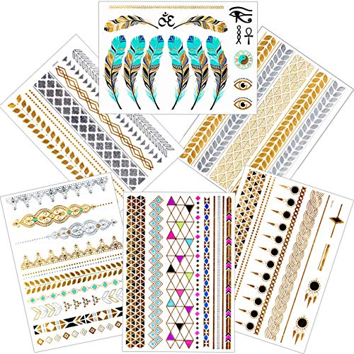 Metallic Henna Tattoo Kit, 6 Sheets of Premium Temporary Tattoos, Long-Lasting Fake Tattoos, Easy To Apply & Remove, Egyptian Motif - Egyptian Tattoos