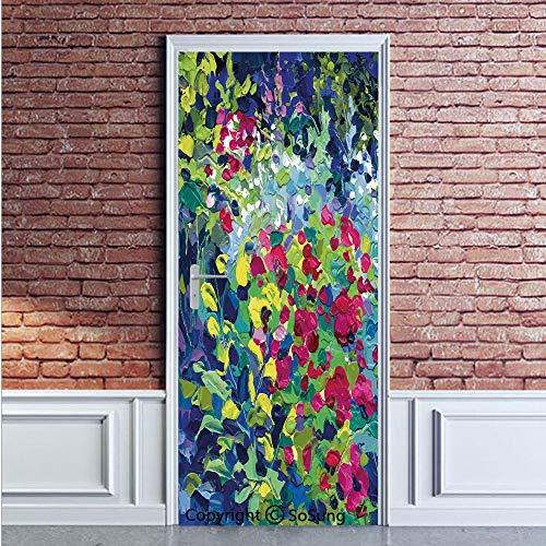 Art Door Wall Mural Wallpaper Stickers,Floral Field Vivid Toned Pastel Flourishing Fragrance Botany Summer Petals Picture Decorative,Vinyl Removable 3D Decals 35.4x78.7/2 Pieces set,for Home Decor Mul