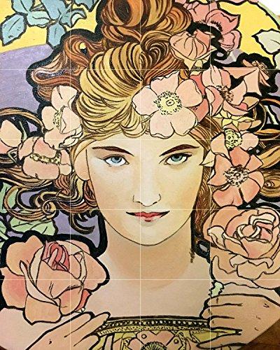 Poster girl portrait flowers by Alphonse Mucha Tile Mural Kitchen Bathroom Wall Backsplash Behind Stove Range Sink Splashback 4x5 6'' Marble, Matte by FlekmanArt