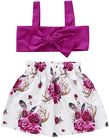 Solid Straps Skirts Outfits 2Pcs Set RYGHEWE Toddler Baby Girls Floral Printed T Shirt Tops