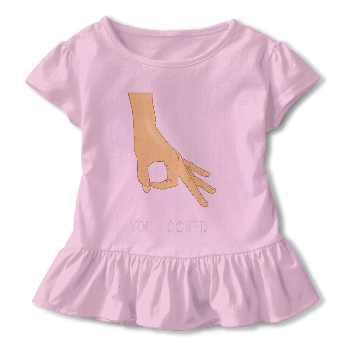 Flat,800x800,075,f Breathable Sweat-Absorbing Cotton Tee T-Shirts Shirts with Round Neck and Ruffles Casual Top for Toddlers Baby Girls Children Pink