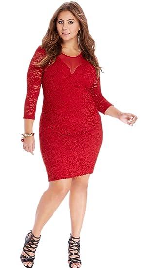 Zumeet Women Lace Decorated Plus Size Valentine Dress Red at Amazon ...