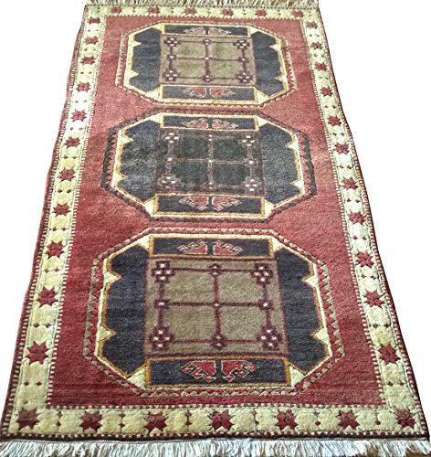 Vintage Handwoven Area Rug Carpet 6.38 x 3.34 ft.