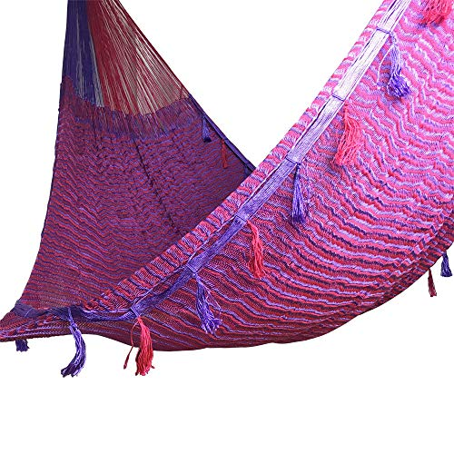 jjcarolina Rope Handmade Mayan Hammock - Heavy Duty Woven Yucatan Hammocks/for Outdoor Indoor Patio Backyard/Mexican Hamacas Jumbo Size 15 feet - for 2 Person