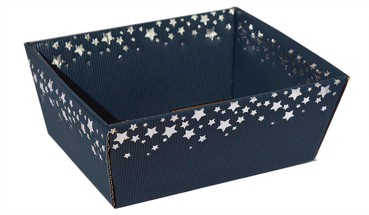 10 Stück  Präsentkorb Sternenregen blau  mittel, Weihnachtskorb, Geschenkkorb,