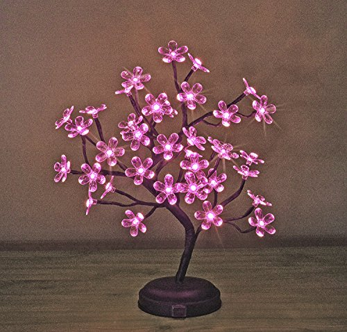 Lightshare 18-inch Crystal Flower LED Bonsai Tree, Pink Light, 36 LED Lights, Battery Powered or DC adapter(included), Built-in - Trees Pink Flowers