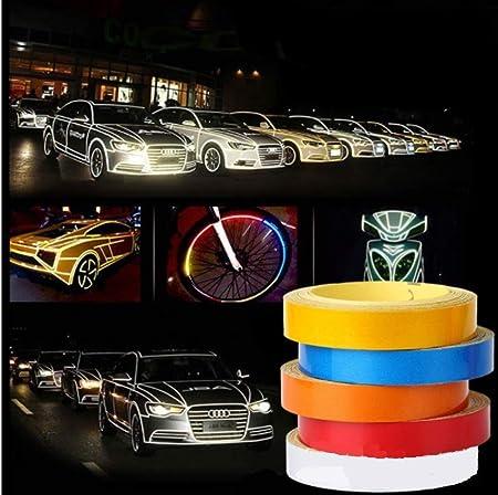 10mm x 10m de cinta reflectante - reflectante etiquetas de alta visibilidad cinta coche de la noche Tráfico luminoso Flecha Señal de peligro de la etiqueta engomada del tope delantero de alta