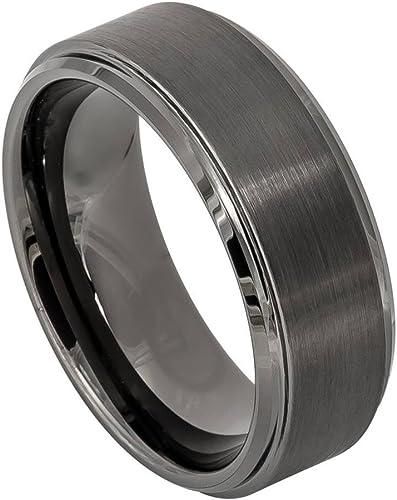 Stainless Steel Base w//Polished Black Ceramic Center Beveled Band Size 7.5 Length 0 Width 8