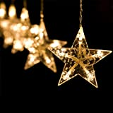 IDABAY Stars Curtain String Light, 138 LEDs 8.2ft Fairy Hanging Strip Lamp Window Curtain Lights Decoration for Christmas, Wedding, Birthday, Party, Home, Patio Lawn Tree Supplies (Warm White)