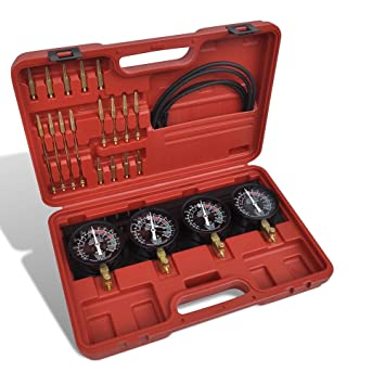Mophorn Vergaser Synchronizer mit 4 Manometern Synchro Vergaser Synchronizer Synchronizer Vergaser Auto Moto 4 Vergaser