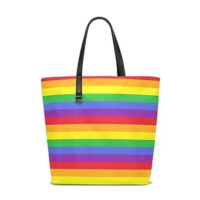 dfaa2949e62 TIZORAX Rainbow Stripes Travel Shoulder Bag Beach Tote Bags Shopping Bag  Handbag for Women Girls: Amazon.co.uk: Shoes & Bags