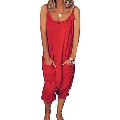 Ajpguot Verano Mujer Sexy Sling Monos Color Sólido Mamelucos Moda Largo Mono Casual Rompers Pantalones con Bolsillo: Ropa y accesorios