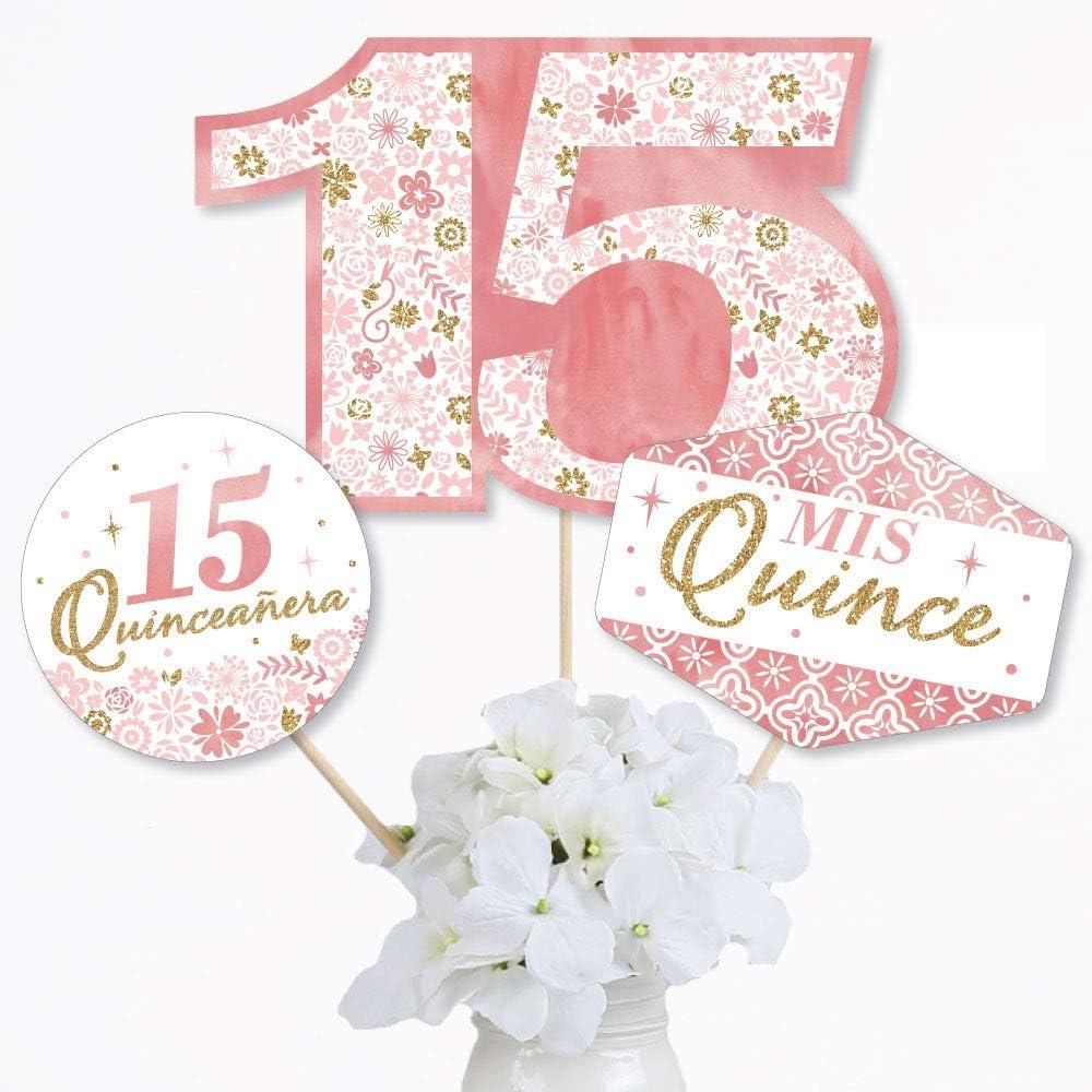 Quincea/ñera Decoration 15 Number Confetti with Black Circles 50 Pieces