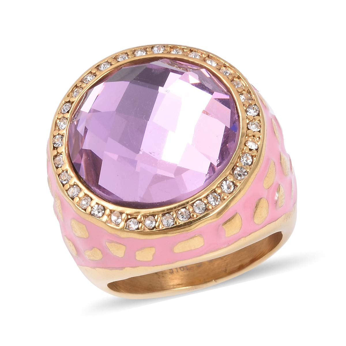 Shop LC Delivering Joy Stainless Steel Enameled Round Pink Glass Cocktail Ring Jewelry for Women Size 8
