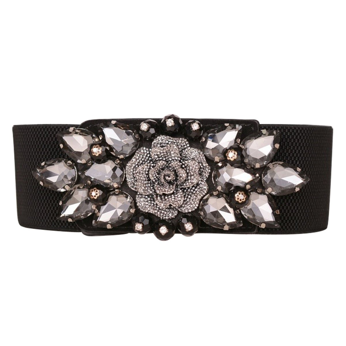 E-Clover Cute Wide Floral Rhinestone Stretch Elastic Cinch Waist Belt For Ladies (Black) by E-Clover