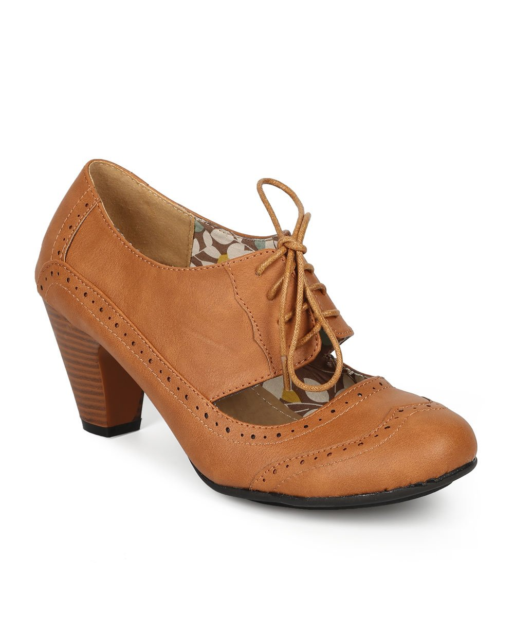 Refresh Women Leatherette Cut Out Lace Up Chunky Heel Spectator Pump CH01 - Tan Leatherette (Size: 7.0)