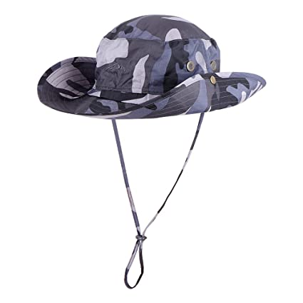718e0b6e34 Anyoo Outdoor Boonie Hat Breathable Wide Brim Summer Sun Cap UV Protection  Fishing Camouflage Hat for